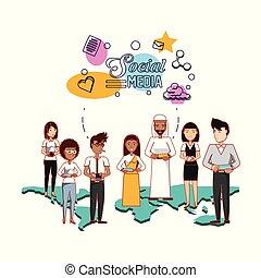 άνθρωποι , από , διαφορετικός , εθνικός , άθροισμα , με , κοινωνικός , μέσα ενημέρωσης , απεικόνιση
