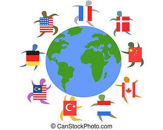 άνθρωποι , διεθνής , κόσμοs , τριγύρω , σημαία