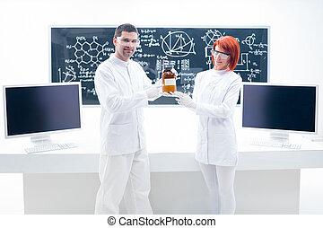 άνθρωποι , εξεζητημένος , μέσα , ένα , χημεία , εργαστήριο