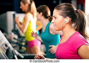 άνθρωποι , επάνω , ποδόμυλος , μέσα , γυμναστήριο , τρέξιμο