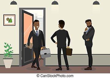 άνθρωποι , επιχειρηματίας , αμερικανός , αναμονή , γραφείο , αφρικανός , γελοιογραφία
