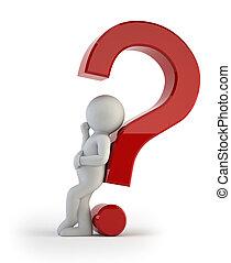 άνθρωποι , - , ερώτηση , μπερδεμένος , μικρό , 3d