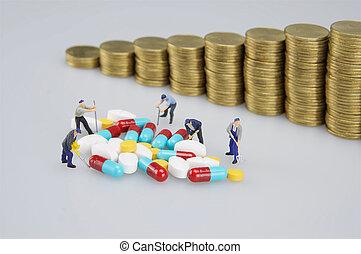 άνθρωποι , κέρματα , μινιατούρα , αμαυρώ , φάρμακο , θημωνιά