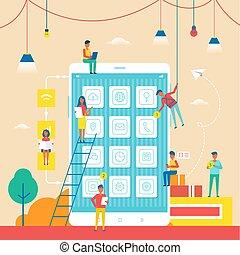 άνθρωποι , κινητός , αφίσα , εικόνα , τηλέφωνο , μικροβιοφορέας