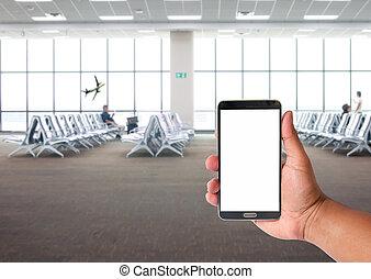 άνθρωποι , κινητός , πάνω , χέρι , airpalne, τηλέφωνο , αναμονή , κρατάω , άντραs