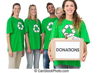 άνθρωποι , κουτί , ανακυκλώνω σύμβολο , δωρεά , φανελάκι