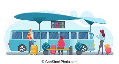 άνθρωποι , λεωφορείο , μικροβιοφορέας , εικόνα , διαμέρισμα , αναμονή