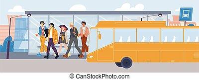 άνθρωποι , μεταφορά , χωρίs , σταματώ , αποκτώ , λεωφορείο , μάσκα , μακριά