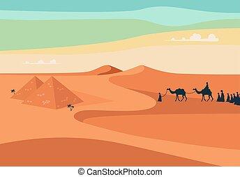 άνθρωποι , μικροβιοφορέας , egypt., εγκαταλείπω , καραβάνι , ευρύς , σύνολο , ιππασία , άμμος , ρεαλιστικός , editable, εικόνα , καμήλες