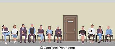 άνθρωποι , πόρτα , δίδρομος , ουρά , έδρα , αναμονή , κάθονται , γυρίζω