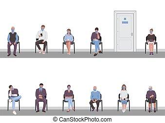 άνθρωποι , πόρτα , δίδρομος , ουρά , distancing, κοινωνικός , έδρα , αναμονή , κάθονται , γυρίζω