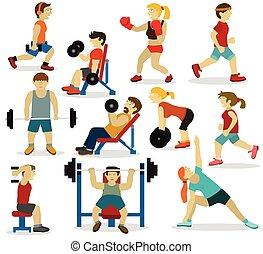 άνθρωποι , σε , ο , gym(various, αθλητισμός , activities)