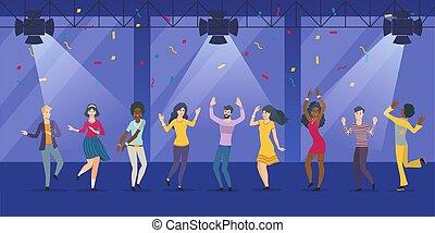 άνθρωποι , σύνολο , νυχτερινό κέντρο , μεγάλος , χορός , νέος
