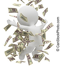 άνθρωποι , χρήματα , - , βροχή , μικρό , 3d