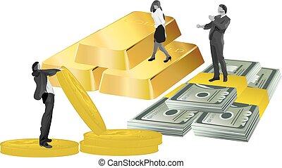 άνθρωποι , χρήματα , κέρματα , επιχείρηση , χρυσός