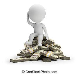 άνθρωποι , χρήματα , - , πόσο , μικρό , ξοδεύω , 3d