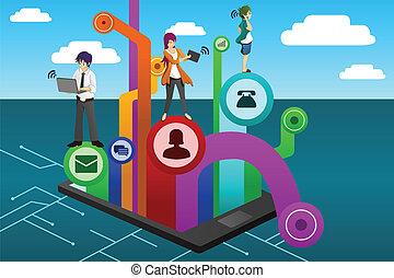 άνθρωποι , χρησιμοποιώνταs , διαφορετικός , κινητός , μηχάνημα