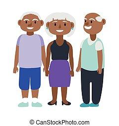 άνθρωποι , afro , γράμμα , άνθρωπος , γριά , avatars