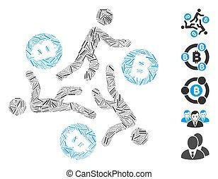άνθρωπος , μωσαικό , εικόνα , bitcoin, τρέξιμο , επώαση