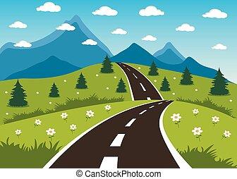 άνοιξη , ή , καλοκαίρι , δρόμοs , να , ο , βουνό
