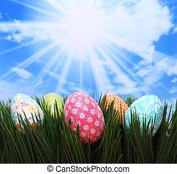 άνοιξη , αυγά , γρασίδι , πόσχα , ευφυής
