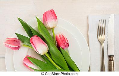 άνοιξη , βάζω στο τραπέζι αναθέτω , με , ροζ , τουλίπα ,...