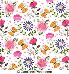άνοιξη , γραφικός , λουλούδι , και , πεταλούδα , seamless, πρότυπο