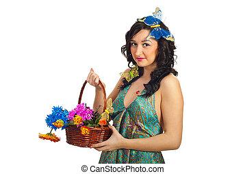 άνοιξη , γυναίκα , λουλούδια , ομορφιά , κράτημα