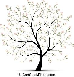 άνοιξη , δέντρο , με , τριαντάφυλλο , για , δικό σου , σχεδιάζω