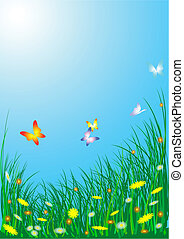 άνοιξη , πεταλούδες , λουλούδια , λιβάδι