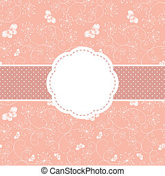 άνοιξη , ροζ , άνθινος , και , πεταλούδα , χαιρετισμός...