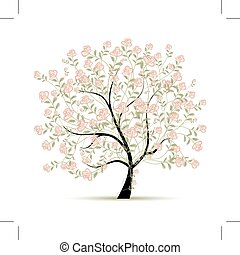 άνοιξη , σχεδιάζω , δέντρο , δικό σου , τριαντάφυλλο