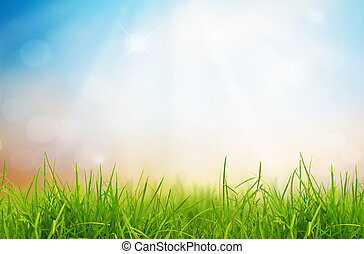 άνοιξη , φύση , φόντο , με , γρασίδι , και γαλάζιο , ουρανόs...
