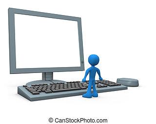 άντρας , ηλεκτρονικός υπολογιστής
