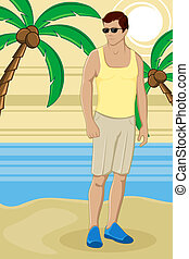 άντρας , παραλία , θάλασσα