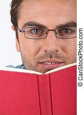 άντραs , βιβλίο , hardback , διάβασμα , κόκκινο , γυαλιά