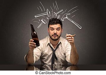 άντραs , γενική ιδέα , απογοητευμένος , επακόλουθο μέθης , μεθυσμένος