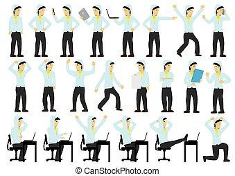άντραs , δράση , θέτω , χαρακτήρας , εργάτης , διαφορετικός , poses., νέος