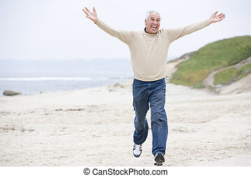 άντραs , εις άρθρο ακρογιαλιά , τρέξιμο , και , χαμογελαστά