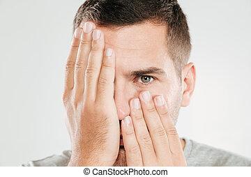 άντραs , επίστρωση , hands., ζεσεεδ