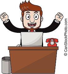 άντραs , ευτυχισμένος , επιχείρηση , γραφείο