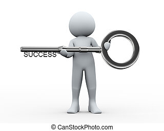 άντραs , κλειδί , επιτυχία , 3d