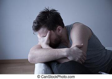 άντραs , κουρασμένος , πονοκέφαλοs