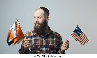άντραs , κράτημα , εθνικός , σημαίες