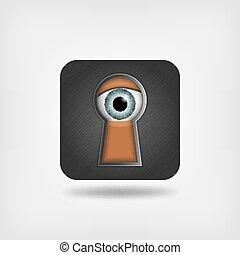 άντραs , μάτι , γρήγορη φευγαλέα ματιά , keyhole.