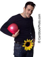 άντραs , με , εις , λουλούδι , κράτημα , ένα , μπάλα