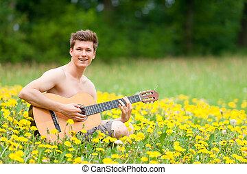 άντραs , με , κιθάρα