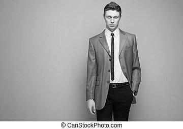 άντραs , μοντέρνος , γκρί , κουστούμι