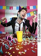 άντραs , πάρτυ , γιορτή , χειρονομία , ευτυχισμένος