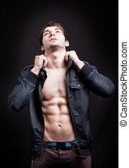 άντραs , προσαρμόζω , abs , μόδα , αόρ. του shoot , ελκυστικός προς το αντίθετον φύλον